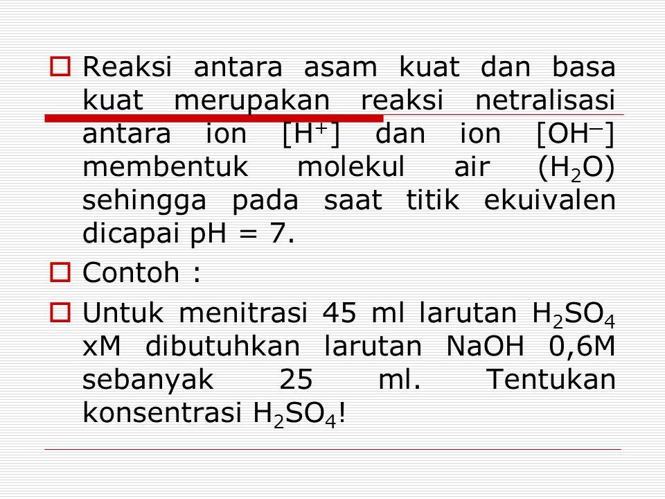 Reaksi antara asam kuat dan basa kuat merupakan reaksi netralisasi antara ion [H+] dan ion [OH─] membentuk molekul air (H2O) sehingga pada saat titik ekuivalen dicapai pH = 7.